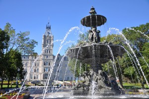 Close up of a beautiful fountain in front of Quebec Parliament. Quebec City, Canada.