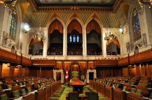 Photo of the inside of the House of Commons of Parliament Building, Ottawa, Canada.