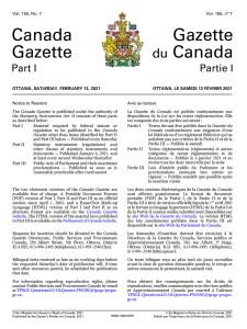 The Canada Gazette Magazine for Saturday, February 13, 2021 - Volume 155, No. 7.