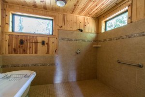 Part of a gigantic bathroom in an accessible cabin in remote Mineral Springs