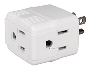 Compact outlet splitter like this one are one solution to confiscated power strips and extension cords