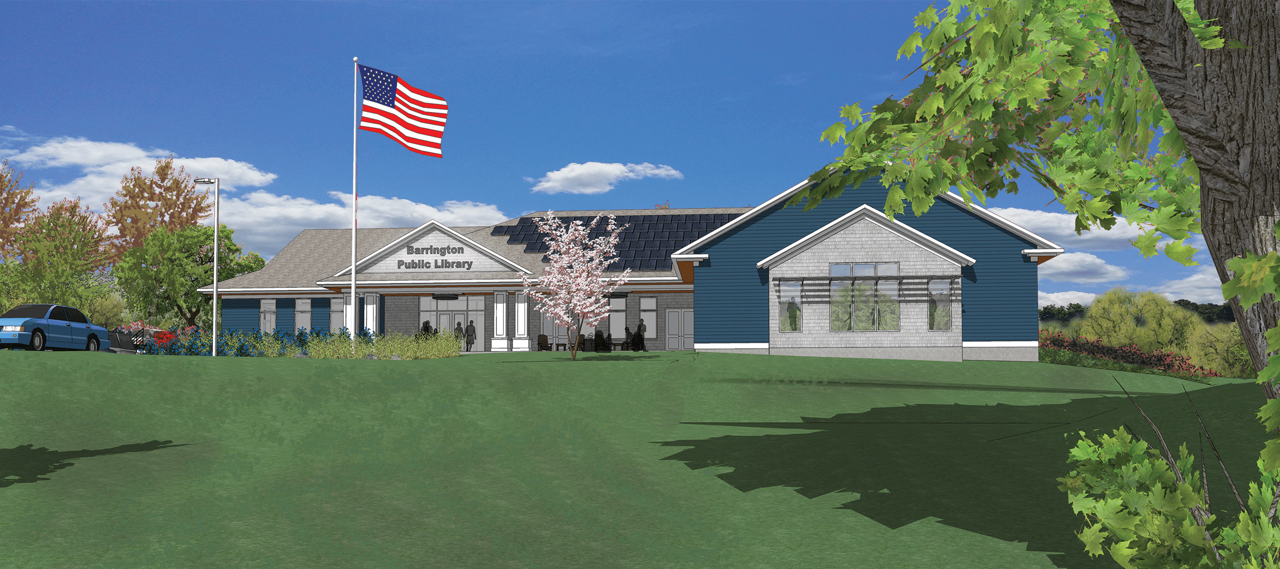 Front view on Barrington Library & Community Center design