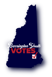 "NH state shape in navy blue with ""Barrington Youth VOTES"""