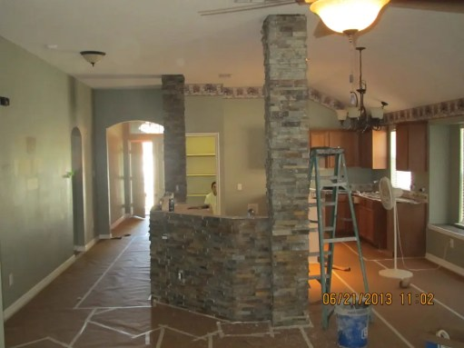 Stone faux walls and columns