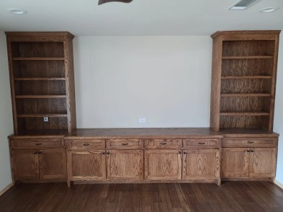 Media room cabinets and flooring