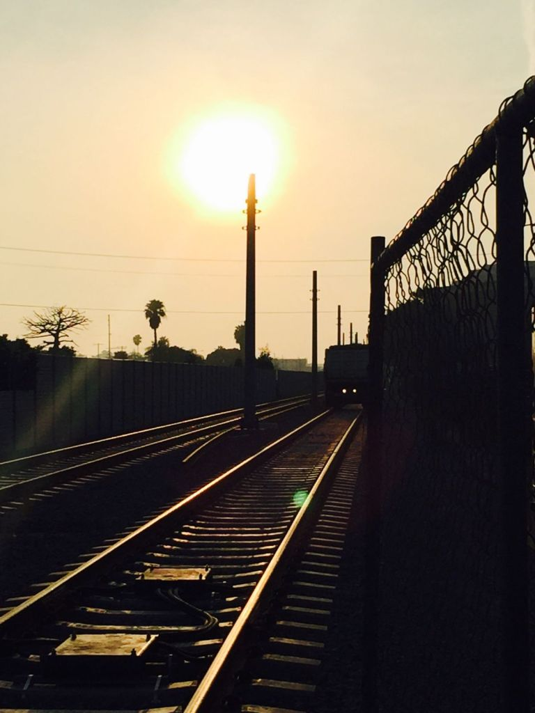 the sun chasing the metro expo line train