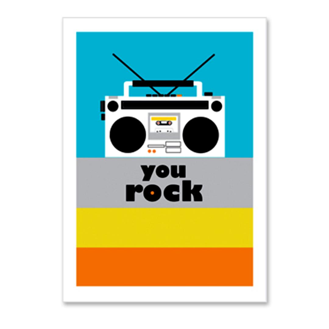 you rock birthday card Rock Scissor Paper Boom Box