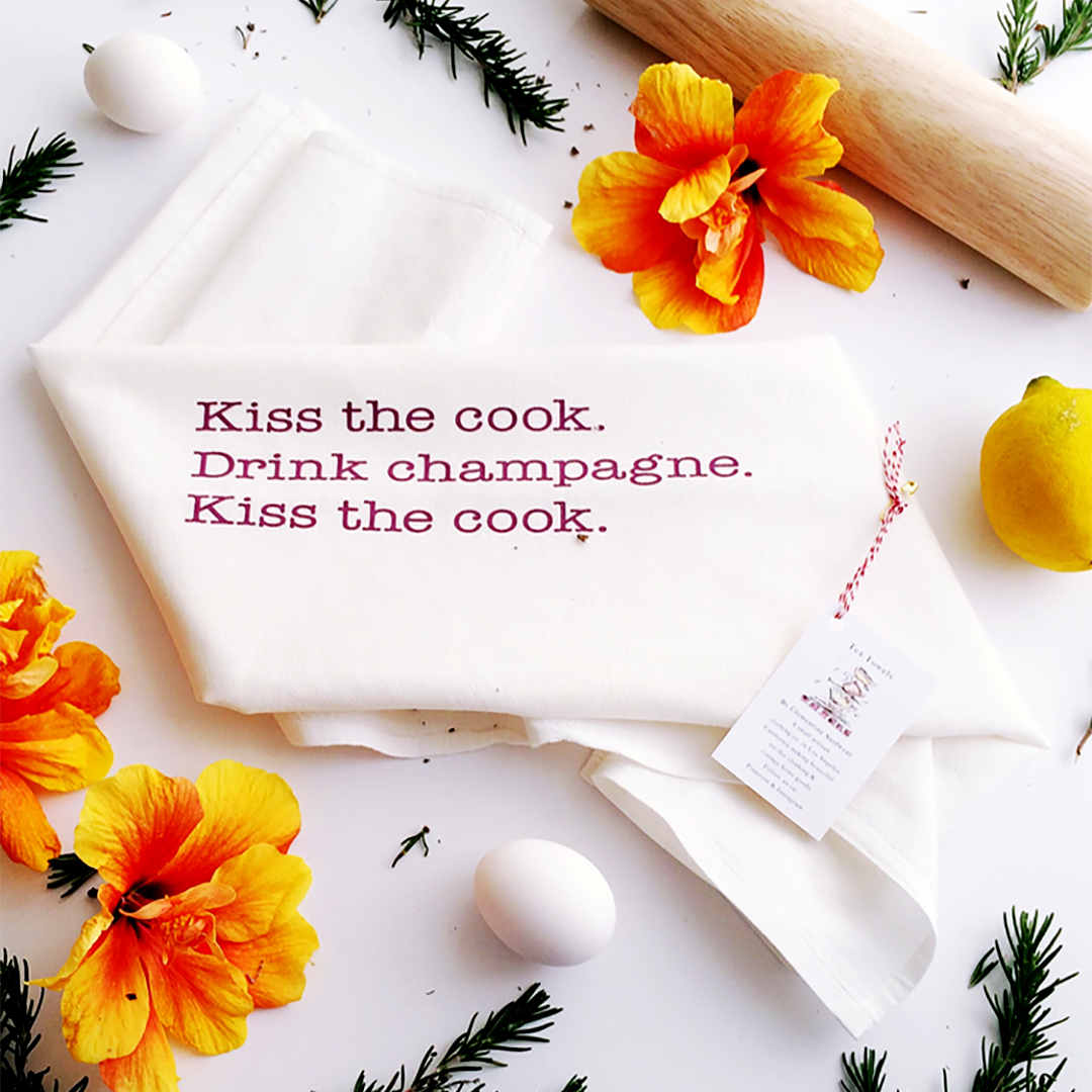 kiss the cook kitchen towel Drink Champagne Kitchen Towel
