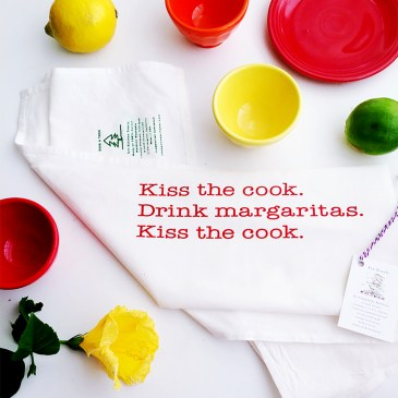 kiss the cook kitchen towel