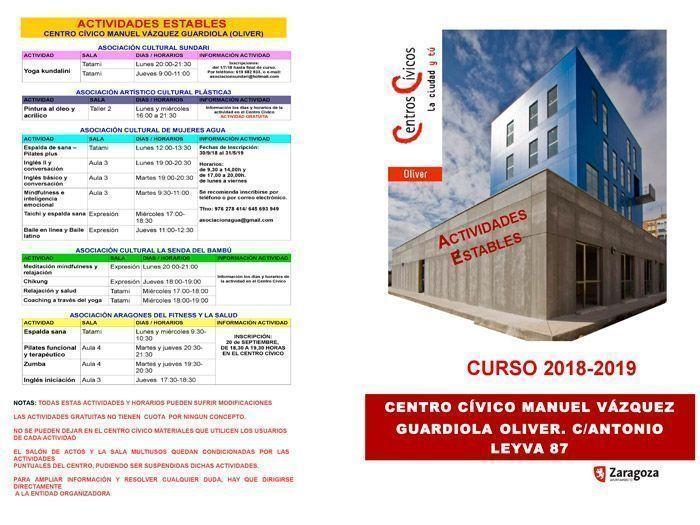 Actividades estables del Centro Cívico Oliver septiembre 2018