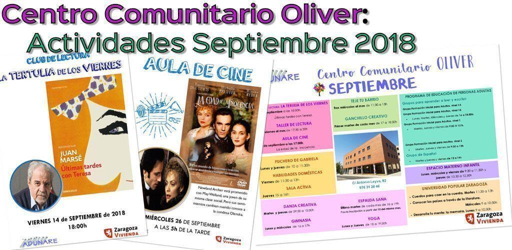 Centro Comunitario Oliver: actividades septiembre 2018