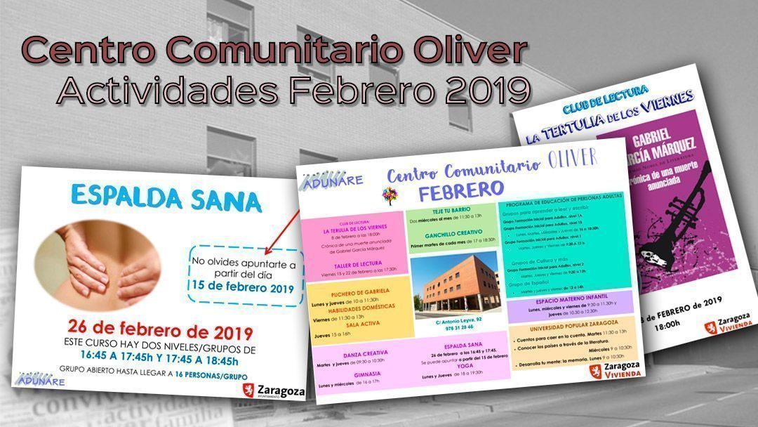 Centro Comunitario Oliver. Actividades febrero 2019