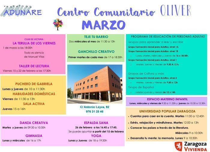 Centro Comunitario Oliver Actividades marzo 2019