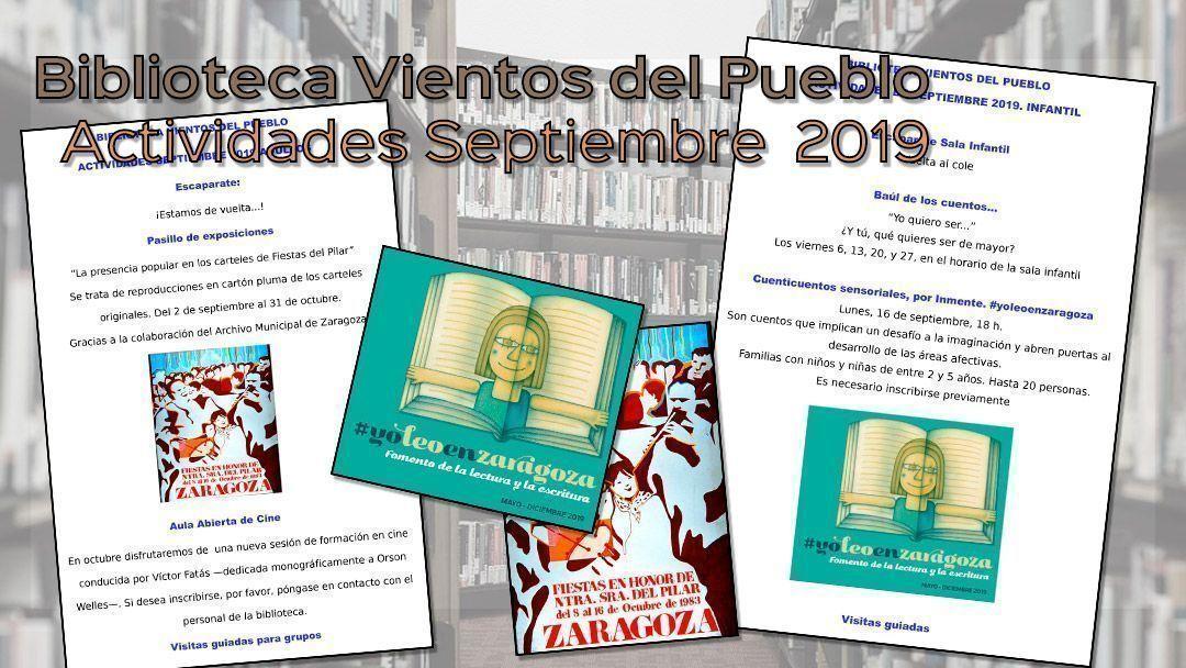 Biblioteca Vientos del Pueblo – Actividades septiembre 2019