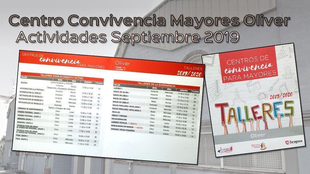 Centro de convivencia de mayores Oliver: Talleres 2019-2020