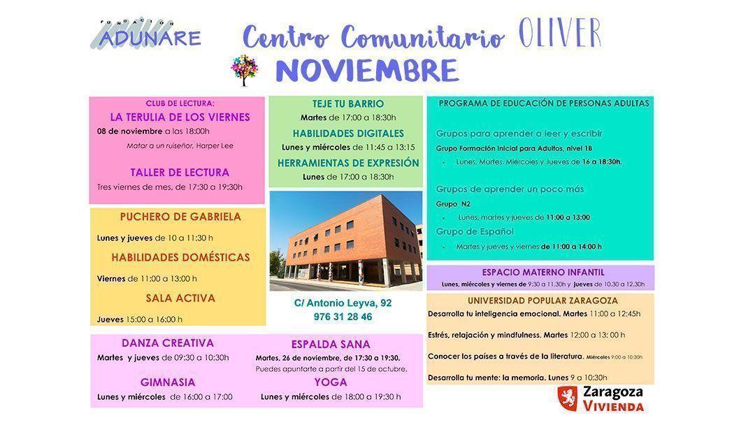 Centro Comunitario Oliver: Actividades Noviembre 2019