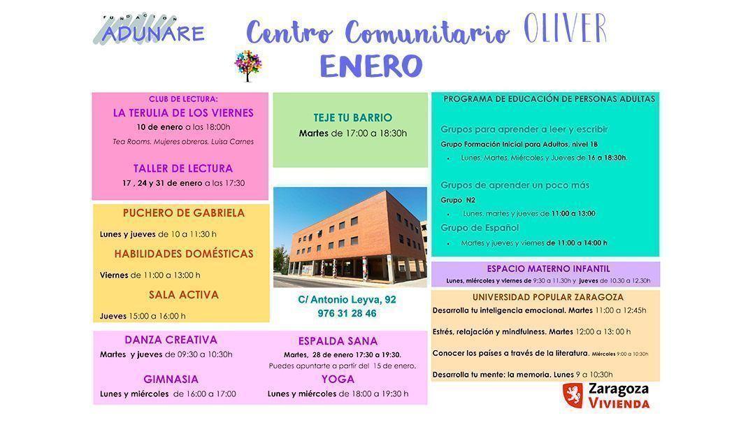 Centro Comunitario Oliver: Actividades enero 2020