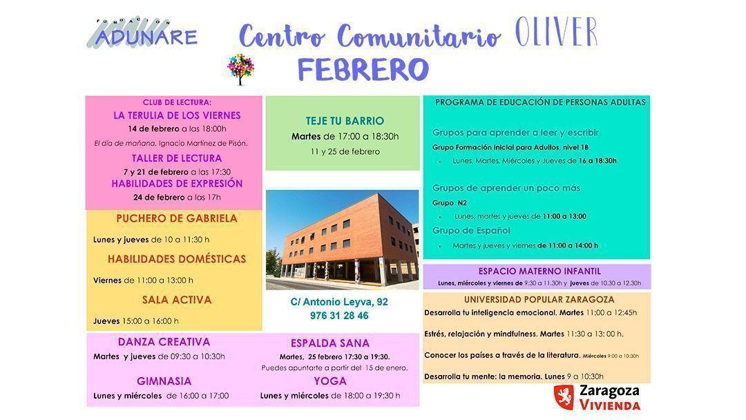 Actividades para febrero de 2020 en el Centro Comunitario Oliver