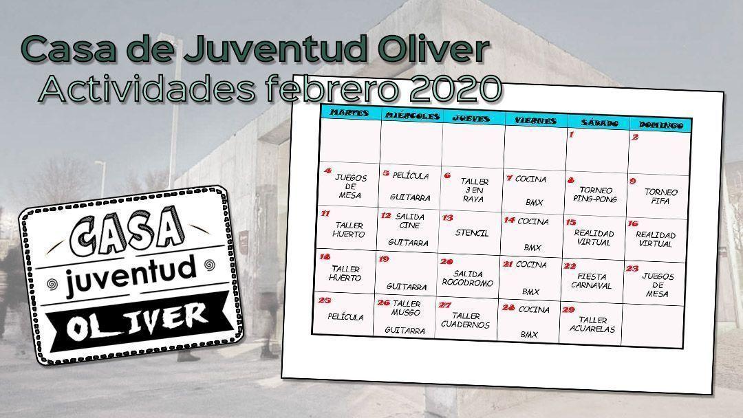 Actividades para febrero de 2020 en la Casa de Juventud Oliver