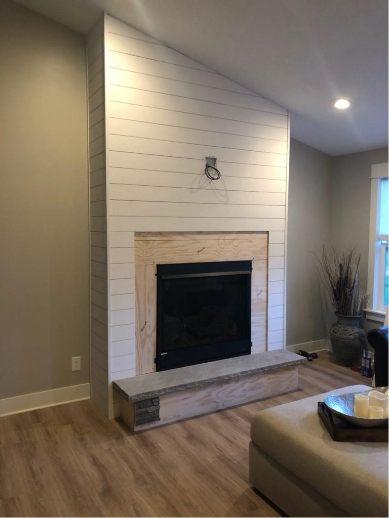 Shiplap Fireplace Wall Accented With Stacked Stone Style