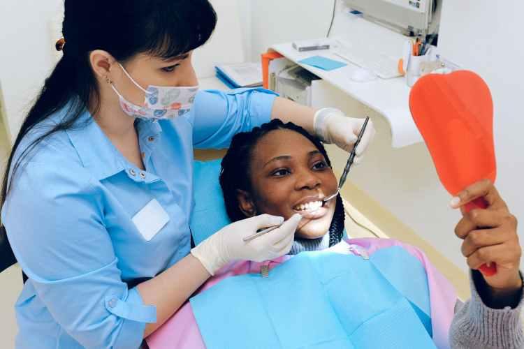 woman having dental check up