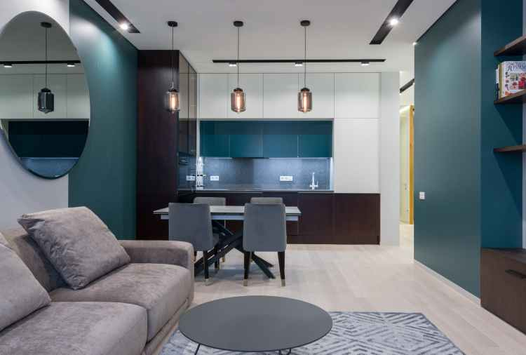 spacious living room and kitchen in apartment