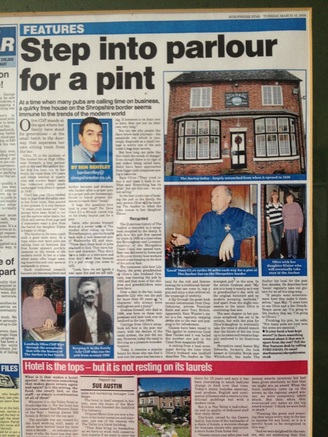 The Anchor Inn newspaper cutting
