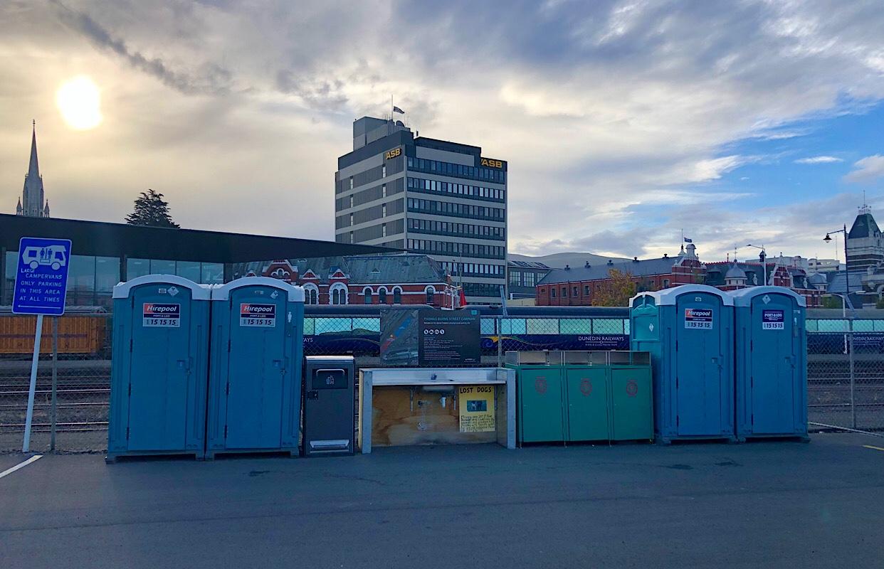 Dunedin Railway Station free camp ground
