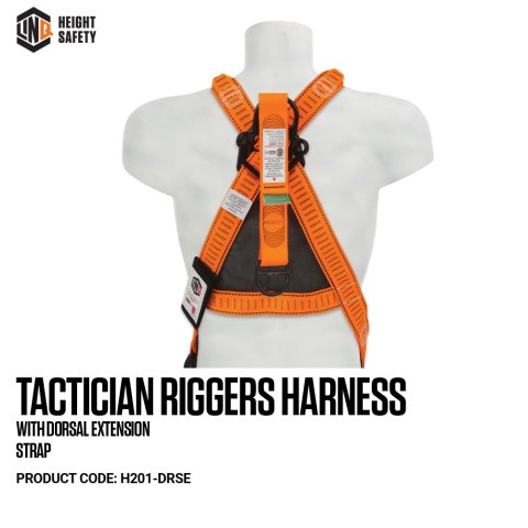 H201-DRSE LINQ Tactician Riggers Harness With Dorsal Extension Strap on Dummy BACK