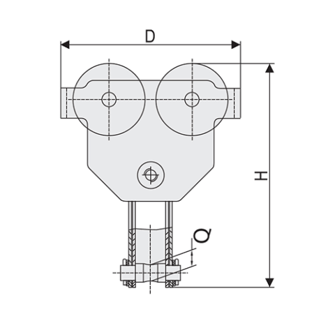 Girder Clamp Trolley Spec Drawing Side View