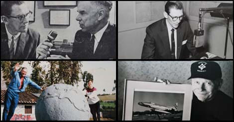 Scenes from Life: Mr. Edward Ronne. Upper left he interviews Dr. Glenn T. Seaborg, co-inventor of Plutonium. Bottom left with his wife Sandy at the equatorial line in Ecuador.
