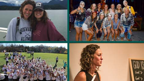 Clockwise: Anneke with a disciple of several years; Her leadership team at Young Life camp; Young Life group at a weekend retreat after messy field games; Sharing the gospel