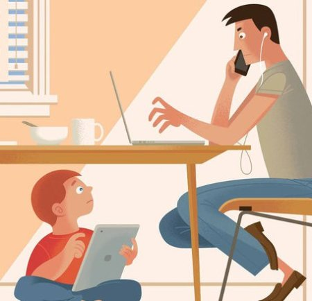 Dad on computer while kid plays with iPad