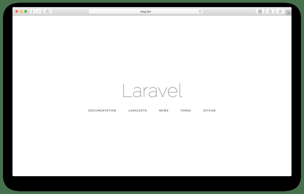 A blank Laravel app running in Safari