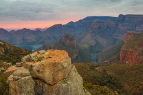 Cloudy Sunrise at Three Rondawels, Blyde River Canyon. South Africa