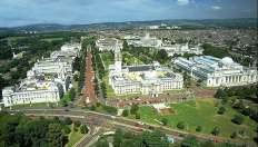 An aerial view of Cardiff city centre