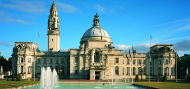 Cardiff City Hall, former centre of civic government, is now used for social and business functions