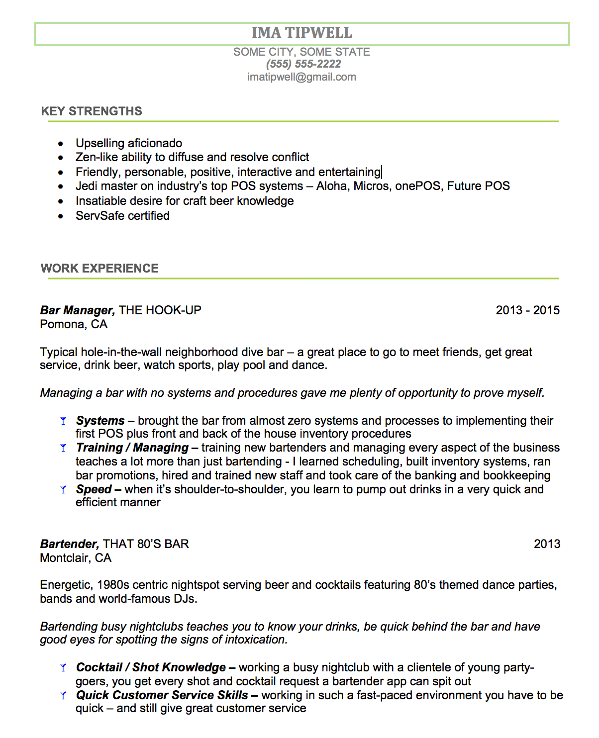 Bartending Resume Examples Bartenders Resume Writing Service We Tailor The Resume To You