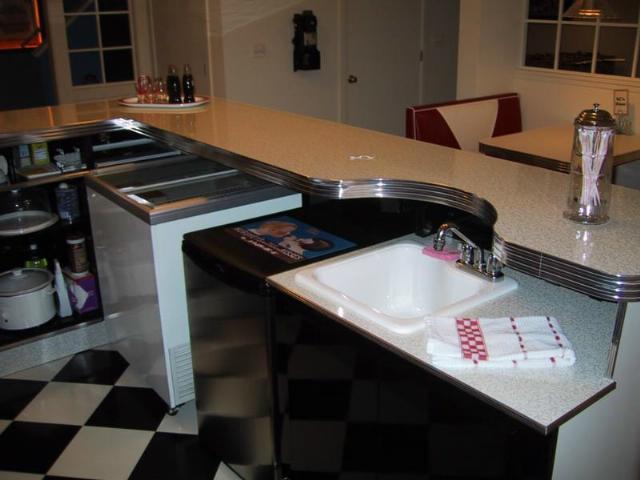 retro chrome chairs ektorp tullsta chair cover kurt's custom l shaped bar: home diner, bar, game room