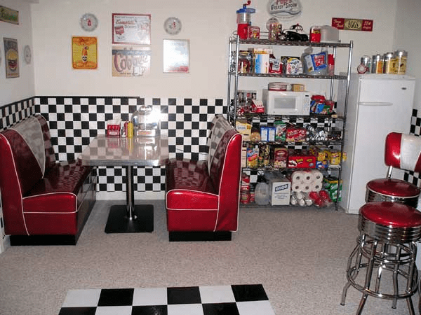 50's kitchen table and chairs brown sink barnes-retro-basement-diner-booth.fw_ » bars & booths