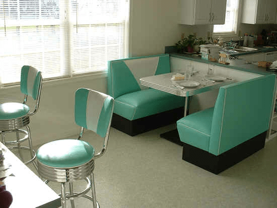 bobs furniture kitchen sets ikea base cabinets booth: teal, white, boomerang table, bar stools