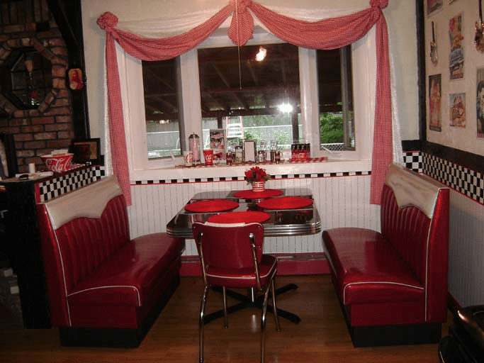 retro cafe dining chairs chair covers for less joan's kitchen diner booth