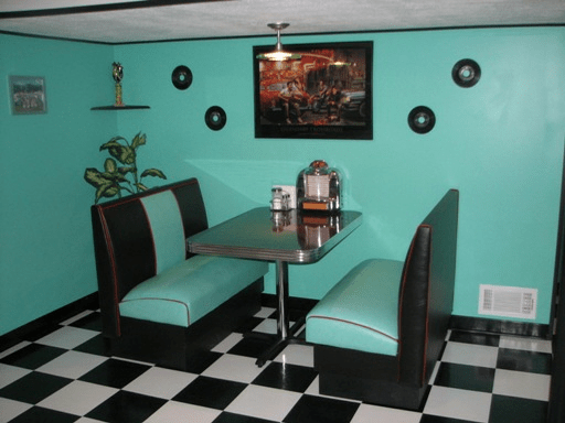 50's kitchen table and chairs base cabinets game room booth: art deco colors, rec seating ...