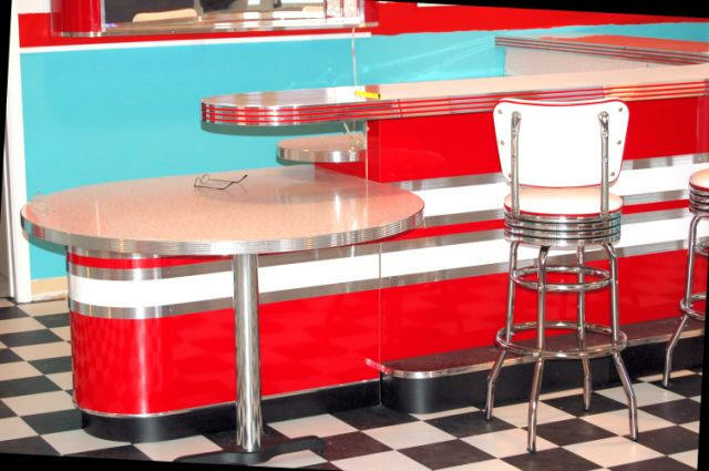 dining table with metal chairs for pool steve's retro home bar: chrome, custom, basement, bar stools