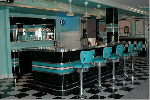 50's kitchen table and chairs old fashioned chair step stool home diner: bar stools, custom bar, diner booths, basement ...