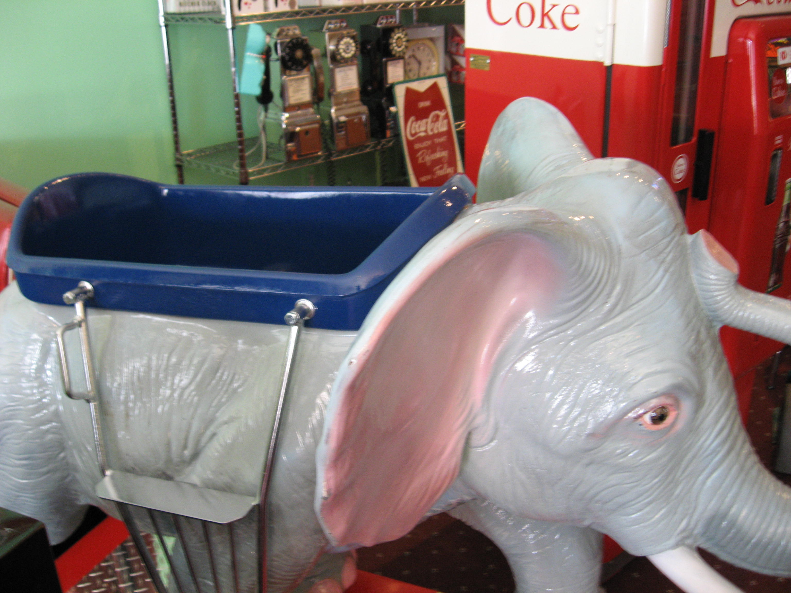 cafe chairs metal 10 chair dining table set elephant kiddie ride: coin operated, restored, original, vintage