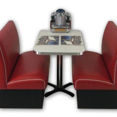 Red Retro Kitchen Table And Chairs Vintage Office Chair Americo Diner Booth Set: Barsandbooths.com