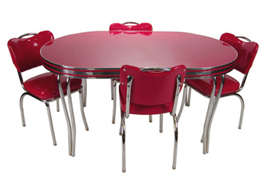 retro kitchen tables how to organize your cabinets and drawers dinettes table chair sets dining room family leaf