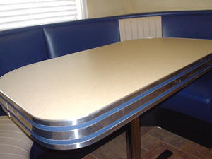 kitchen table with leaf insert craigslist used cabinets metal banding, table, counter top, retro, diner, chrome