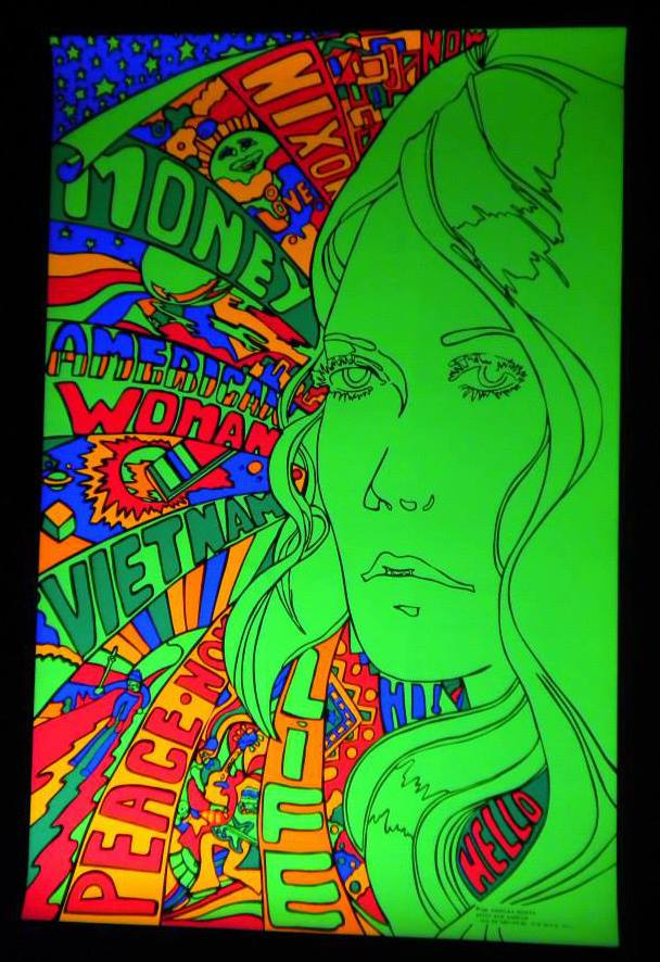 American Woman Black Light Poster 1970 Bars and Booths